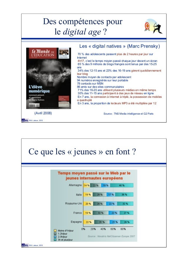 © M. Lebrun, 2010 Des compétences pour le digital age ? Les « digital natives » (Marc Prensky) 70 % des adolescents passen...