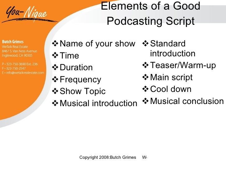 Podcast presentation 20 elements of a good podcasting script pronofoot35fo Gallery