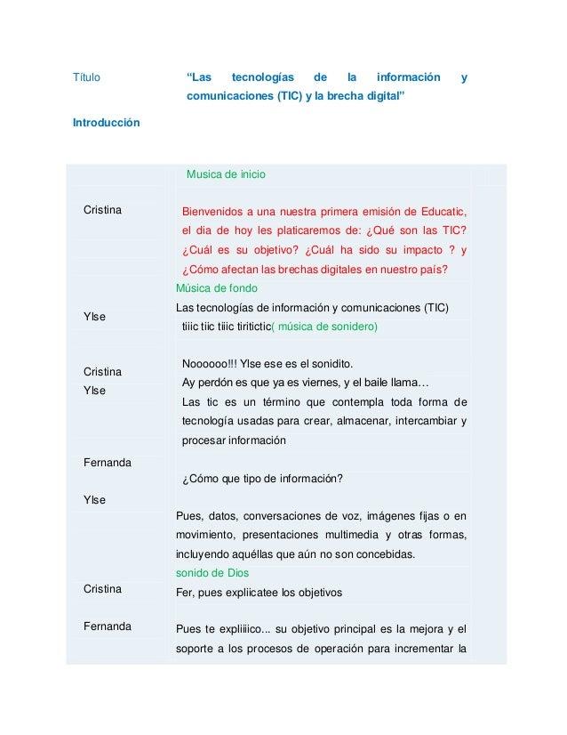 """Título """"Las tecnologías de la información y comunicaciones (TIC) y la brecha digital"""" Introducción Cristina Ylse Cristina ..."""