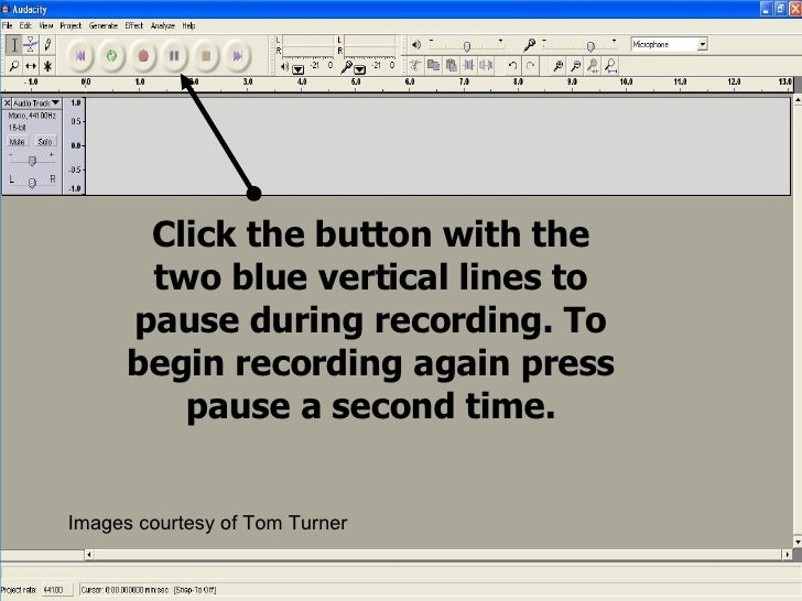 Click the button with the two blue vertical lines to pause during recording. To begin recording again press pause a second...