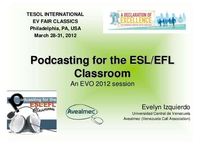 TESOL INTERNATIONAL  EV FAIR CLASSICS Philadelphia, PA, USA  March 28-31, 2012 Podcasting for the ESL/EFL        Classroom...