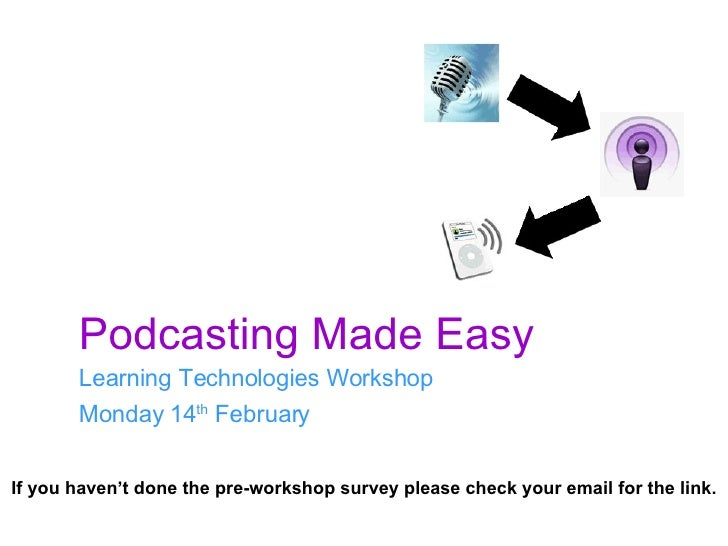 Podcasting Made Easy Learning Technologies Workshop Monday 14 th  February If you haven't done the pre-workshop survey ple...