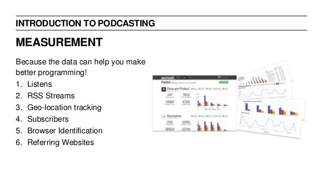 INTRODUCTION TO PODCASTING Because the data can help you make better programming! 1. Listens 2. RSS Streams 3. Geo-locatio...