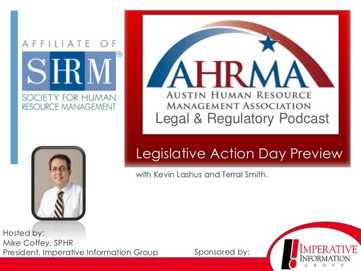 Legal & Regulatory Podcast                                 Legislative Action Day Preview                                 ...