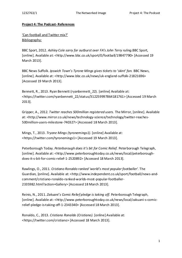 1232763/1 The Networked Image Project 4: The Podcast1Project 4: The Podcast- References'Can football and Twitter mix?'Bibl...