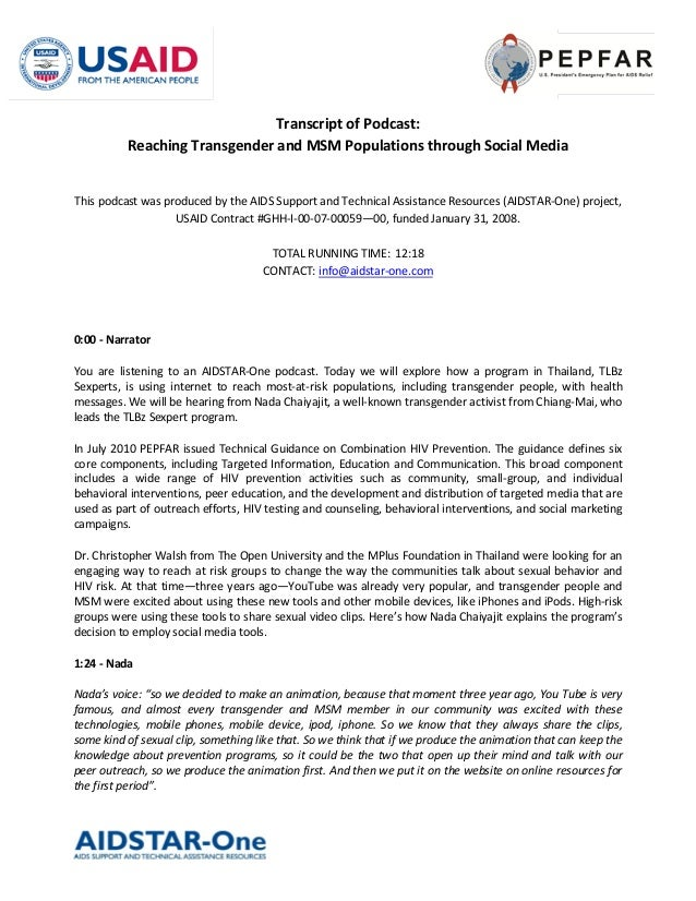 Transcript of Podcast:          Reaching Transgender and MSM Populations through Social MediaThis podcast was produced by ...