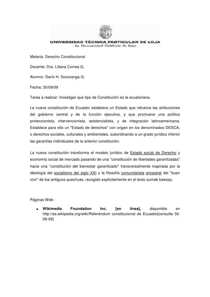 Materia: Derecho Constitucional<br />Docente: Dra. Liliana Correa Q.<br />Alumno: Darío H. Sozoranga Q. <br />Fecha: 30/09...
