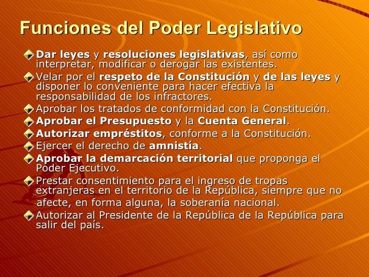 Funciones del Poder Legislativo <ul><li>Dar leyes  y  resoluciones legislativas , así como interpretar, modificar o deroga...