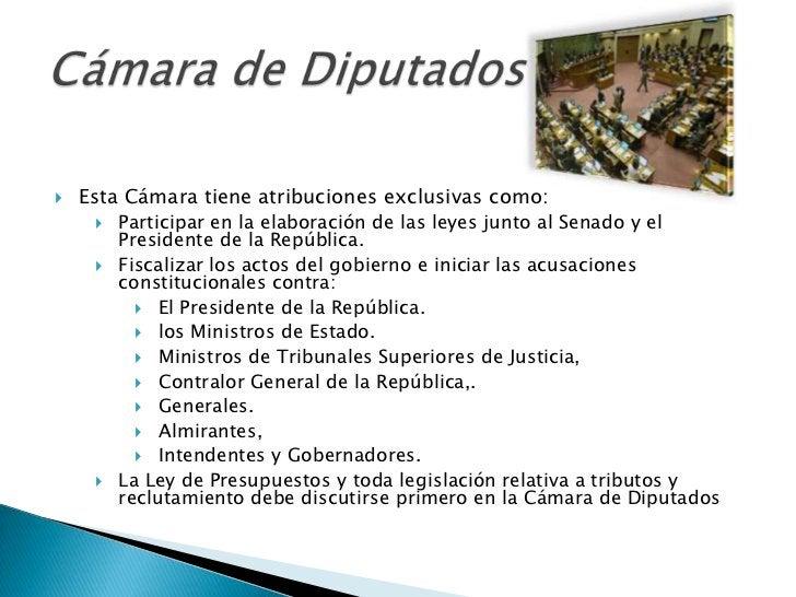   Esta Cámara tiene atribuciones exclusivas como:        Participar en la elaboración de las leyes junto al Senado y el...