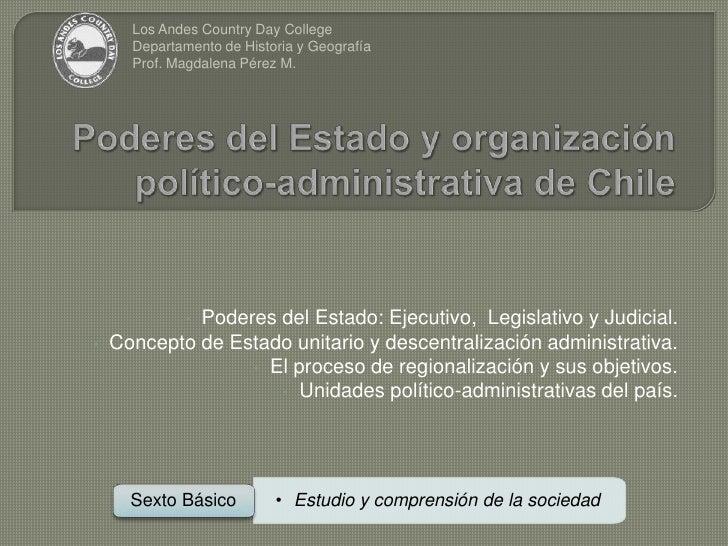 Poderes del Estado y organización político-administrativa de Chile<br />Los Andes Country Day College<br />Departamento de...