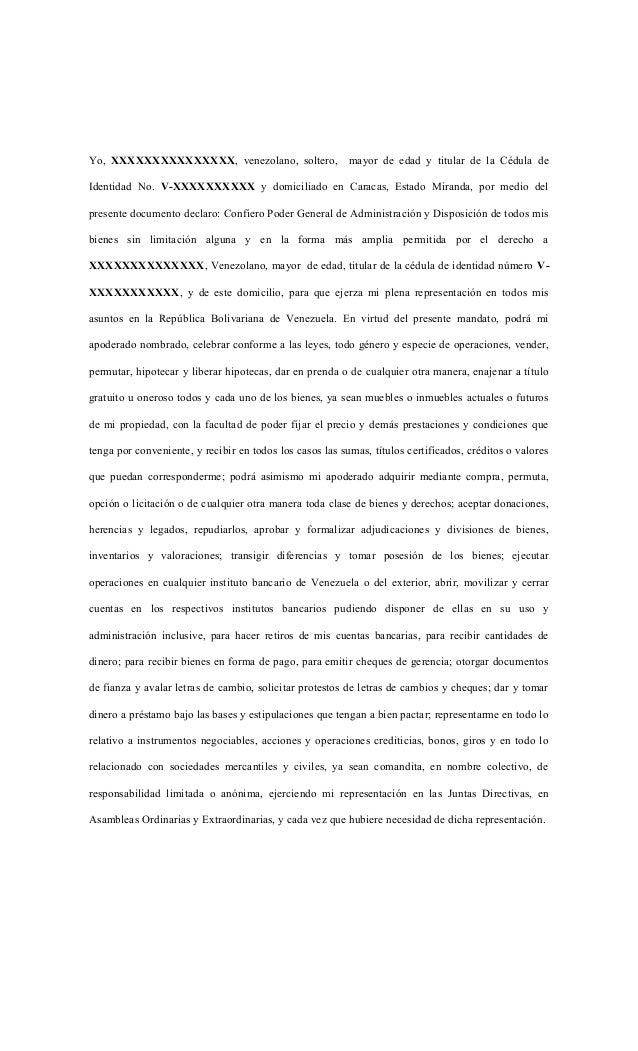 Yo, XXXXXXXXXXXXXXX, venezolano, soltero, mayor de edad y titular de la Cédula deIdentidad No. V-XXXXXXXXXX y domiciliado ...
