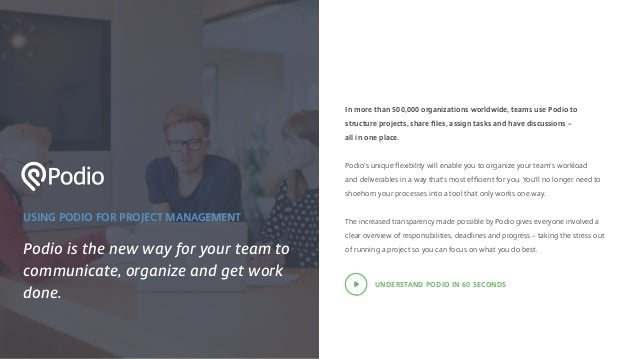 USING PODIO FOR PROJECT MANAGEMENT Podio is the new way for your team to communicate, organize and get work done. In more ...