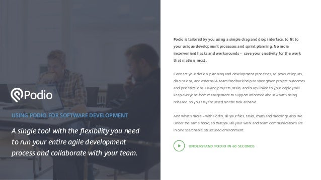 USING PODIO FOR SOFTWARE DEVELOPMENT A single tool with the flexibility you need to run your entire agile development proce...