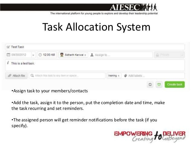 Assigned Task NotificationThe assigned task will appear in the person's inbox.
