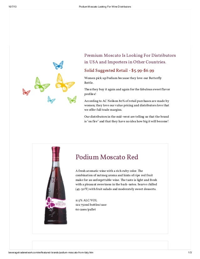 10/7/13 Podium Moscato Looking For Wine Distributors beveragetradenetwork.com/en/featured-brands/podium-moscato-from-italy...