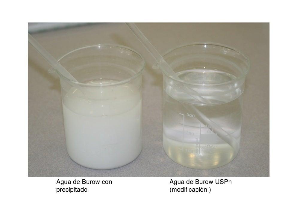 Agua de Burow con   Agua de Burow USPhprecipitado         (modificación )