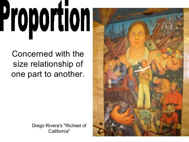 """Concerned with the size relationship of one part to another. Diego Rivera's """"Richest of California"""""""