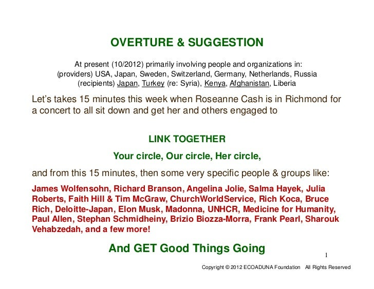 OVERTURE & SUGGESTION           At present (10/2012) primarily involving people and organizations in:      (providers) USA...