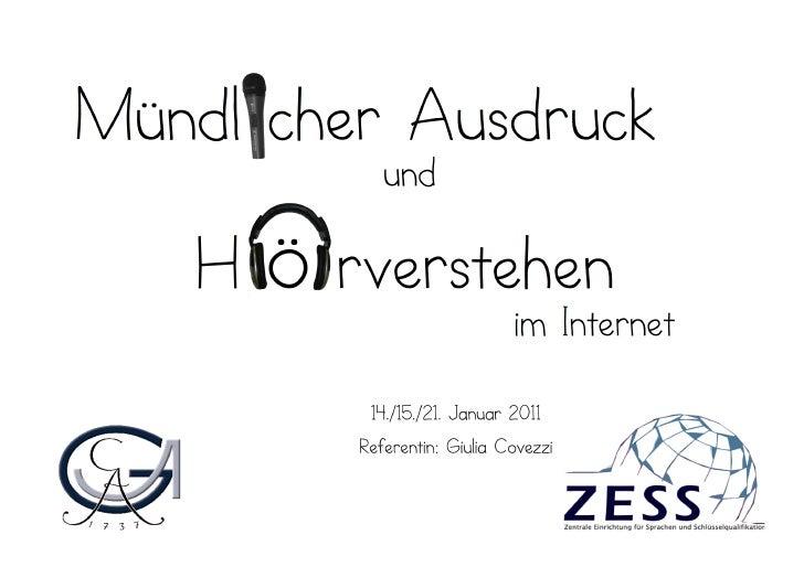 Mündlicher Ausdruck und Hörverstehen im Internet: Podcasting & Videosharing
