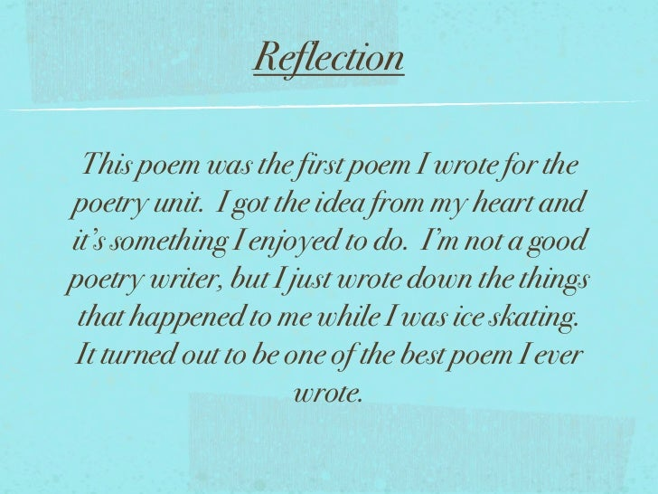 how to write a reflection on a poem