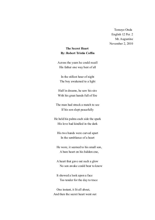 Tomoyo Onda English 12 Per. 2 Mr. Augustine November 2, 2010 The Secret Heart By: Robert Tristin Coffin Across the years h...