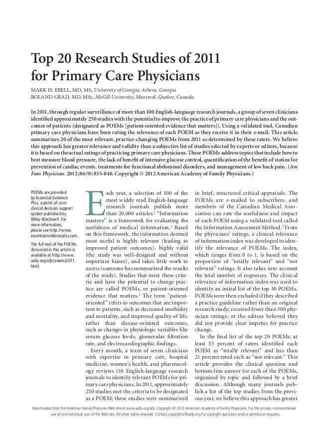 Top 20 Research Studies of 2011for Primary Care PhysiciansMARK H. EBELL, MD, MS, University of Georgia, Athens, GeorgiaROL...