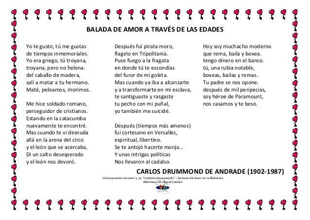 Poema 2 balada del amor de las edades carlos drummond - Amor en catalan ...