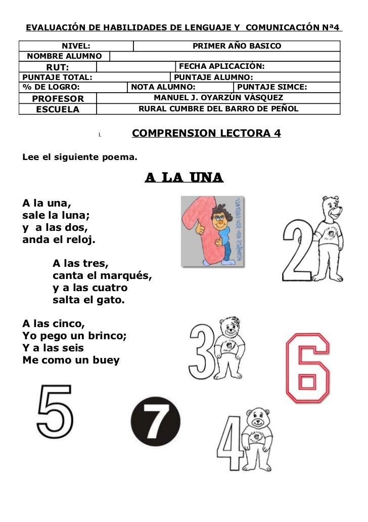 EVALUACIÓN DE HABILIDADES DE LENGUAJE Y COMUNICACIÓN Nª4      NIVEL:                      PRIMER AÑO BASICONOMBRE ALUMNO  ...