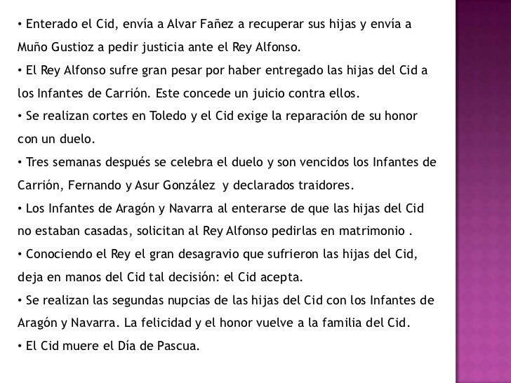 El Cid envía a AlvarFañez a Castilla con un presente de treintacaballospara el Rey Alfonso.</li></li></ul><li>Segundo Cant...