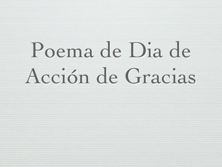 Poema de Dia de Acción de Gracias