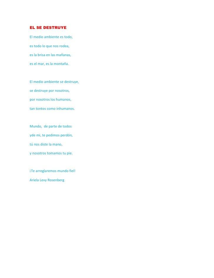 Poema El Medio Ambiente Ariela