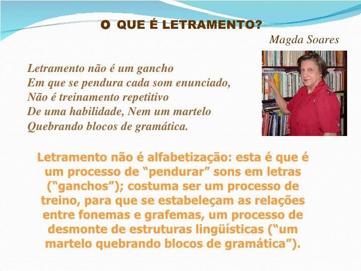 O  QUE É LETRAMENTO?  Magda Soares Letramento não é um gancho Em que se pendura cada som enunciado, Não é treinamento repe...