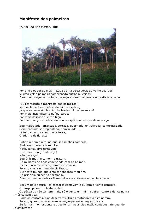 Manifesto das palmeiras (Autor: Adilson Motta/2008) Por entre os cocais e os matagais uma certa voraz de vento soprou! Vi ...