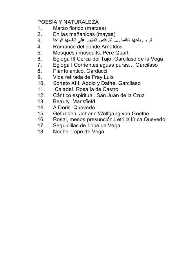 POESÍA Y NATURALEZA1.   Marzo florido (marzas)2.   En las mañanicas (mayas)3.   ترى رياحها انغاما ..... تتراقص الطيور على...