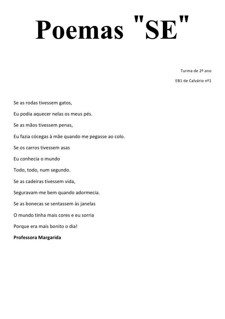 """Poemas """"SE""""                                                       Turma de 2º ano                                         ..."""