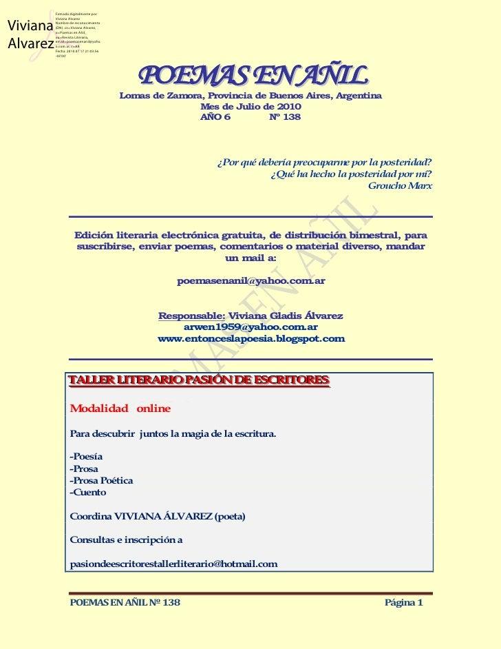 Firmado digitalmente porViviana          Viviana Alvarez          Nombre de reconocimiento          (DN): cn=Viviana Alvar...