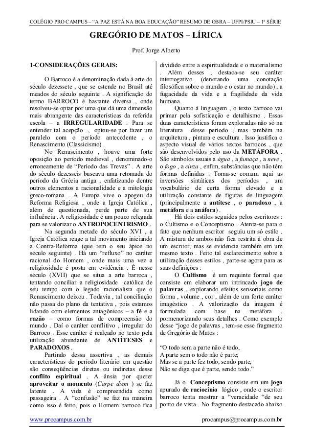 """COLÉGIO PRO CAMPUS – """"A PAZ ESTÁ NA BOA EDUCAÇÃO"""" RESUMO DE OBRA – UFPI/PSIU – 1ª SÉRIE                       GREGÓRIO DE ..."""