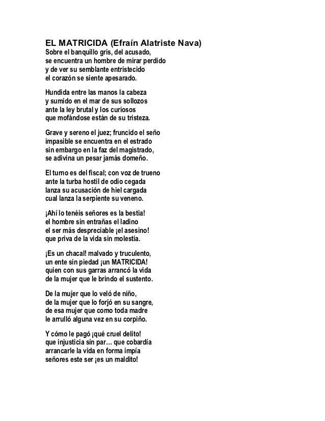 EL MATRICIDA (Efraín Alatriste Nava)Sobre el banquillo gris, del acusado,se encuentra un hombre de mirar perdidoy de ver s...