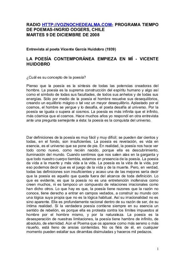 RADIO HTTP://VOZNOCHEDEALMA.COM- PROGRAMA TIEMPO DE POEMAS-INGRID ODGERS, CHILE MARTES 9 DE DICIEMBRE DE 2008 Entrevista a...