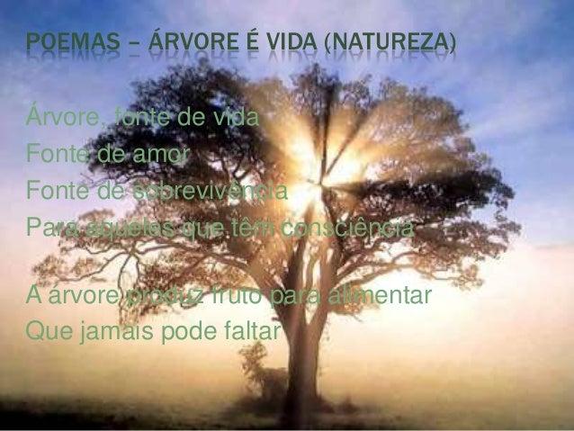 POEMAS – ÁRVORE É VIDA (NATUREZA)Árvore, fonte de vidaFonte de amorFonte de sobrevivênciaPara aqueles que têm consciênciaA...