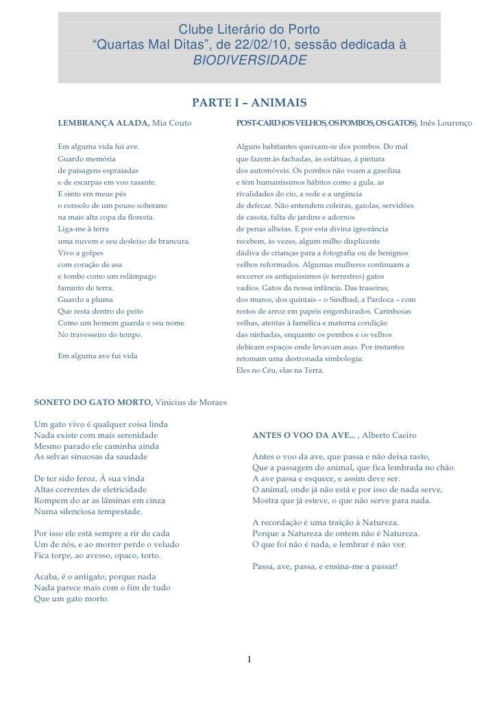"""Clube Literário do Porto                 """"Quartas Mal Ditas"""", de 22/02/10, sessão dedicada à                              ..."""