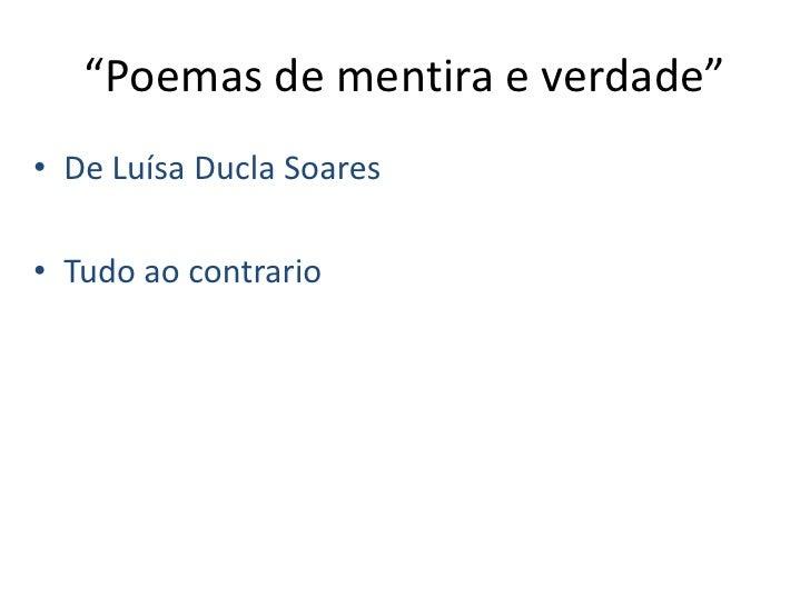 """""""Poemas de mentira e verdade""""<br />De Luísa Ducla Soares   <br />Tudo ao contrario<br />"""