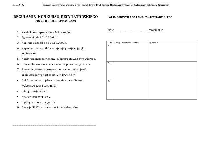 Strona 1 z 14                 Konkurs recytatorski poezji w języku angielskim w XXVII Liceum Ogólnokształcącym im Tadeusza...
