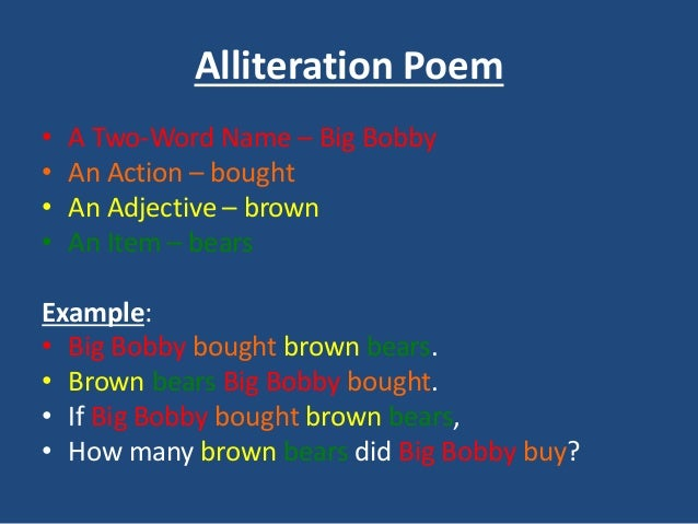 Poem examples for Alliteration poem template