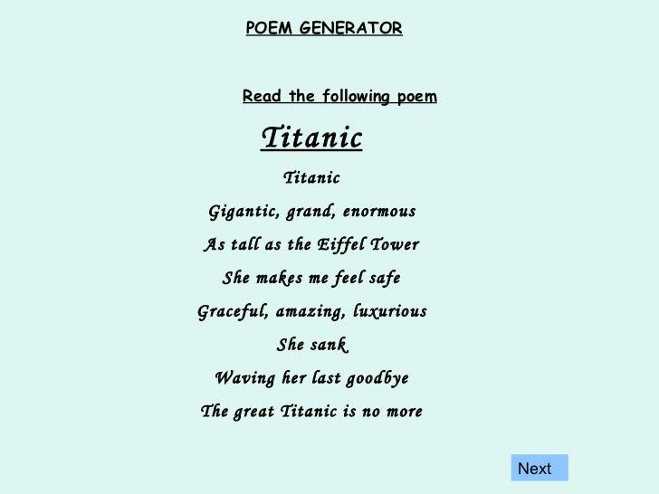 funny poem generator   Poemdoc.or