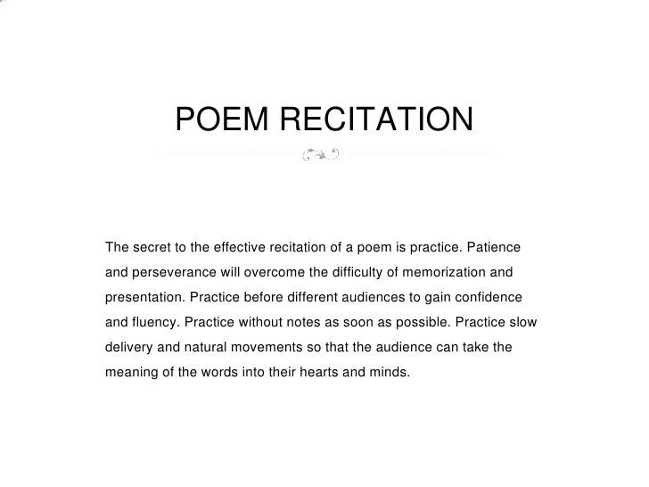 Poem recitation