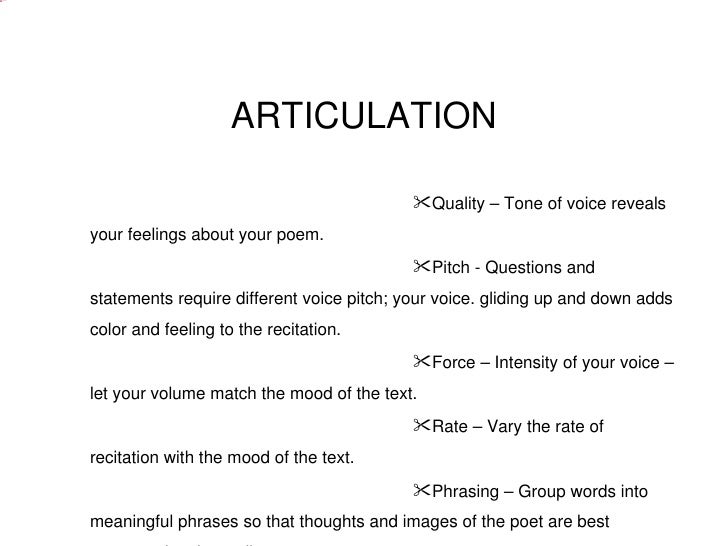 recitation of a poem This quarter, in the place of a book talk, you may give an oral interpretation of a poem of your choice yes, it must be from memory i would like this project to connect with the poetry out loud competition.