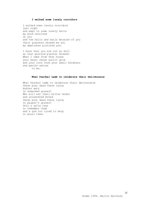 Poems 1996 Martin Hatchuel