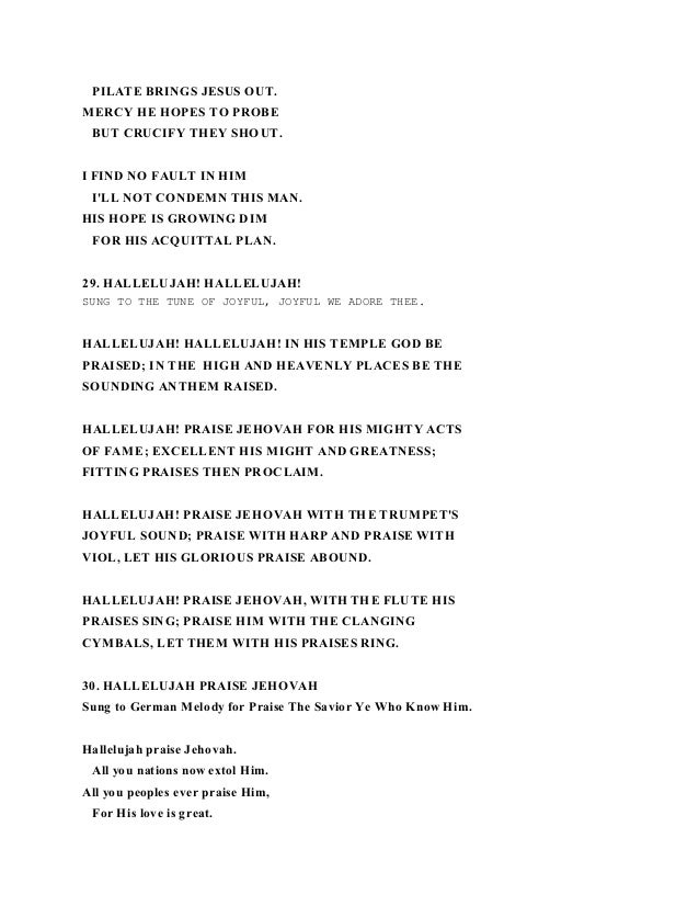 Lyrics of shout hallelujah