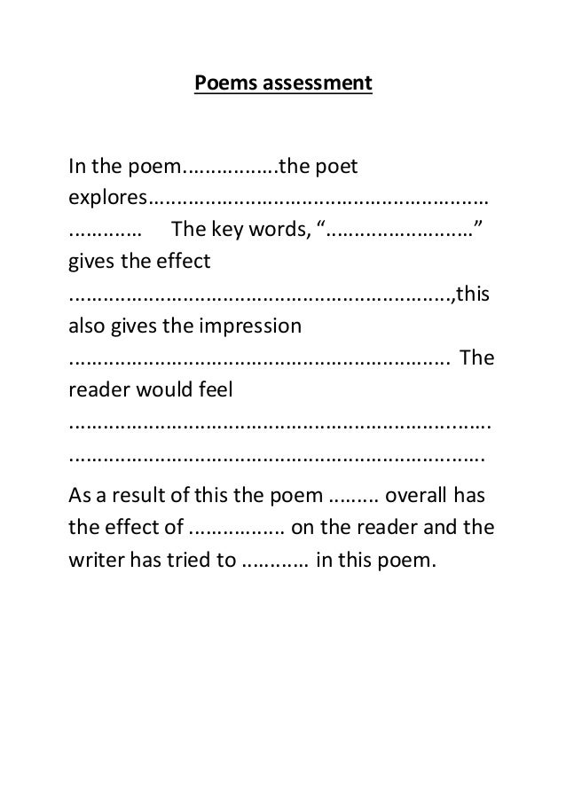 Poetry: Summative Assessment
